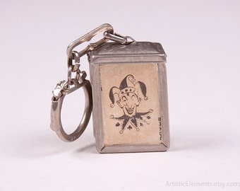 RARE Vintage Mini Playing Cards Deck in Metal Hinged Case with Key Chain Ring Red Hearts Lord