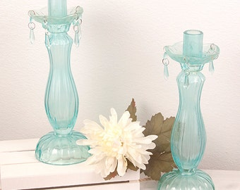 Turquoise Glass Candlestick Holders Crystals Shabby Chic Wedding Home Decor