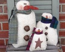 Country snowmen pattern 3 sizes, primitive country snowmen, snowman pattern, chenille snowman, HFTH159