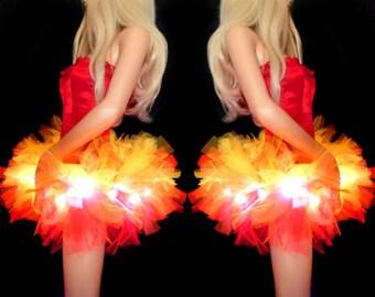 Girl on Fire Halloween Tutu Devil Costume Micro LED Light up Tutu