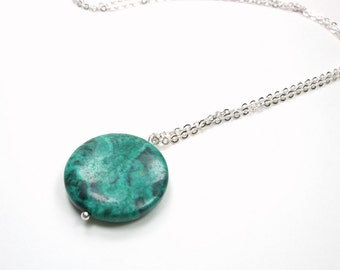 Chrysocolla Charm Necklace - Green Pendant Layer Circle Necklace - Long Layer Gemstone Necklace - Colorful Solitaire Pendant