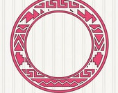 Aztec circle monogram border