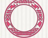 Aztec circle monogram border