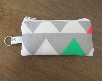 Triangles Coin Pouch, Zippered Coin Purse, Padded Ear buds Pouch with Keyring, Ready to Ship