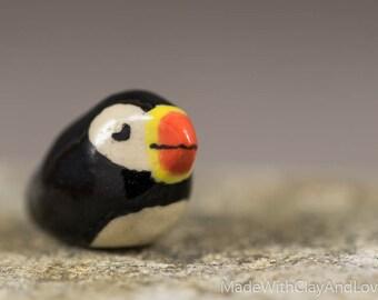 Little Puffin - Terrarium Figurine - Miniature Ceramic Porcelain Bird Animal Sculpture - Hand Sculpted