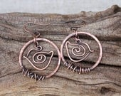 Bird Earrings. Circle. Copper. Silver. Hammered. Earrings. Wire Jewelry.