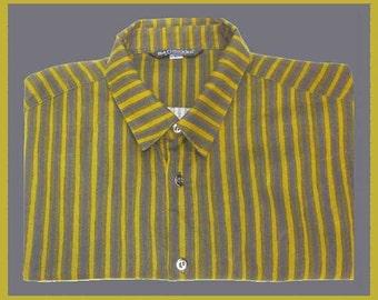 Mans Marimekko Striped Fitted Shirt,Blue/Chartreuse/Olive,Designer Mika Piirainen,Vintage Fashion,Summer into Autumn,Men