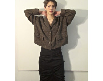 Vintage Eighties Lilith Brown Tweed Jacket from BASIA DESIGNS Private Collection - Free  Shipping