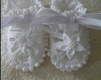 Sale! Custom, Crocheted Beaded Baby Booties Sandals for Baby Girl, custom orders, photo prop