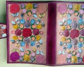 Leather Top Stub Check Book or Memo Book Cover with Roses and Butterflies Made in GA USA