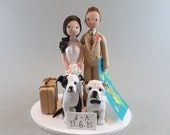 Bride & Groom Custom Made Travel Theme Wedding Cake Topper