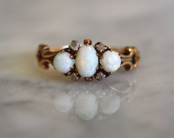 ANTIQUE 1890 OPAL Victorian era rosecut diamonds 10K gold trilogy trinity engagement ring size 7.75