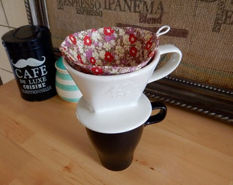Cotton Coffee Filter Re-usable for Pour-over Coffee Maker - Japanese Pink Floral Print Fabric - Size #2 (2 cups)