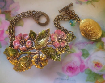 Pink Rose Bracelet ~ Pink and Yellow ~ Dragonfly Bracelet ~ Pink Flower ~ Locket Charm ~ by Upsweptillusions
