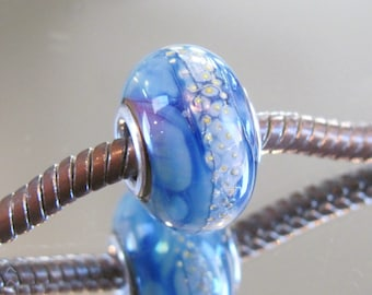 "Tangled Sky Glass ""Tundra"" #2 Fully Sterling Silver Lined Lampwork Charm Bead BHB"