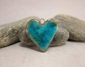 Blue Heart...Stoneware Pendant with Recycled Glass