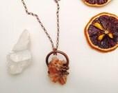 Orange Aragonite Origins Necklace || Raw Gemstone Pendant || Orange Stone Jewelry || Raw Crystal Necklace || Rose Gold Hand Hammered Copper