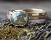Natural Green Cushion Cut Diamond Ring