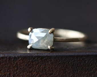 Natural Rose Cut Silver-Grey Diamond Ring