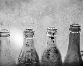 Still Life Photo, Old Bottles, Rustic Photograph, Farmhouse Decor, Adirondack Print, Wall Decor, Fine Art Photography, Black and White, Grey