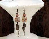 Terra Cotta, Marble, Stone - Dangle Earrings - Antique Brass - Southwestern - Artisan Made - Bohemian