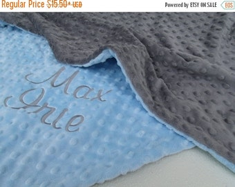 ON SALE Baby Blue and Slate Gray Dot Minky Baby Blanket for Boy