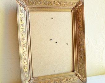 Vintage Filigree Gold Patina Metal Picture Frame 5x7 Inch