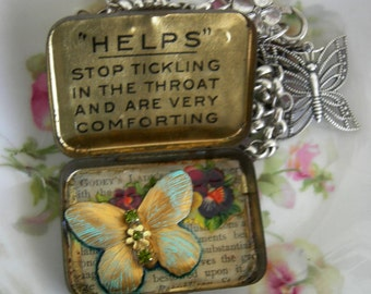 Vintage Tiny Tin Locket Treasure Box Assemblage Necklace