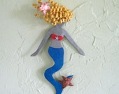 Mermaid art metal wall sculpture - Opal - reclaimed metal bathroom beach house wall decor blue mermaid