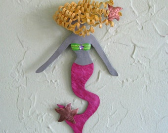 Metal Wall Art Mermaid Sculpture Beach House Coastal Bathroom Wall Decor Blonde Pink Mermaid Art  5 x 9 inches