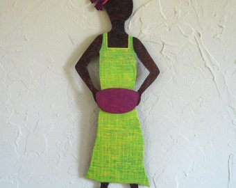 Metal Wall Art Market Lady Sculpture  Recycled  Metal Wall Hanging African Wall Decor Tribal Wall Art Lime Green 6 x 16