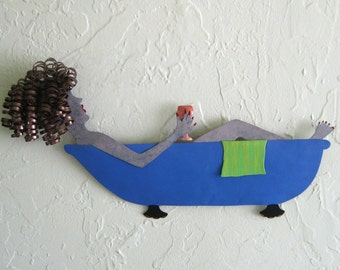 Metal Wall Art Bathtub Lady Sculpture Recycled Metal  Bathroom Decor Wine Glass Brunette Blue Lime Green 8 x 15