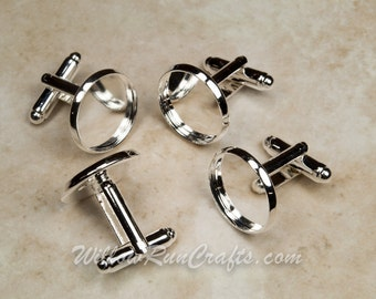 20 (10 pairs) Silver Plated Cuff link 16 mm bezel tray (07-14-393)