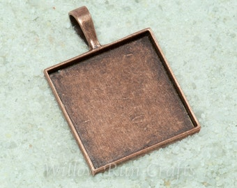 100 pcs 25mm Square Pendant Trays,1 inch Smooth Back Square Bezels, Antique Copper (19-12-220) , Blank Bezel Cabochon Setting