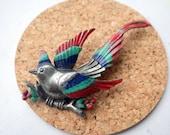 Stunning Antique 3D Bird Brooch Pin - Enameled - Detailed