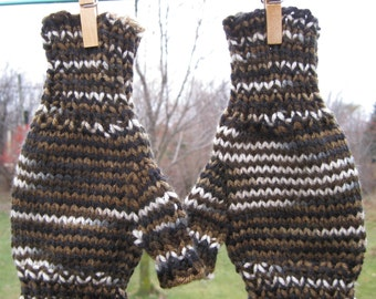 Brown Camouflage Half-Mitts - Size Average to Large