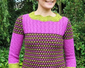 Ladies Sweater Knitting Pattern in 3 colours - Knitting Pattern PDF