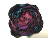 Teal Blue, Black, Cranberry & Purple Flower Accessory, Hair Clip or Brooch, Wedding, Bridal Sash, Bridal Hair Piece, Maternity Sash