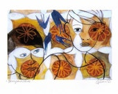 Unique Figurative Art Print Male and Female Portrait with Bluebirds and Abstract Shapes