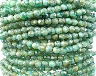 4mm Faceted 2 Tone Cold Springs Picasso Firepolish Czech Glass Beads - Qty 50 (DW57)