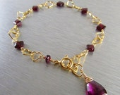 BIGGEST SALE EVER Rhodolite Garnet and Gold Heart Chain Bracelet