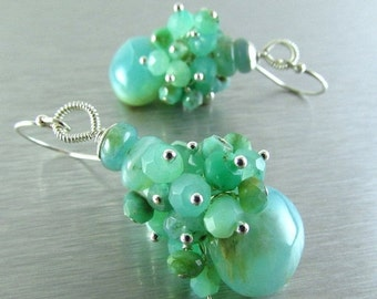 End Of Summer Sale Peruvian Opal and Chrysoprase Sterling Silver Cluster Earring