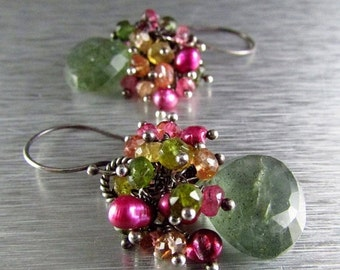 End Of Summer Sale Moss Aquamarine and Watermelon Tourmaline and Pink Pearl Sterling Silver Earrings