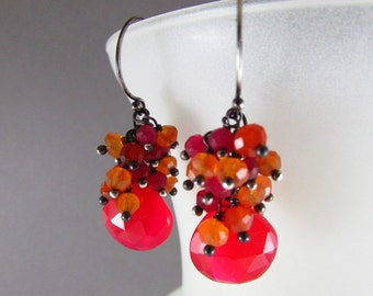 Red Chalcedony, Carnelian and Red Quartz Oxidized Sterling Silver Cluster Earrings