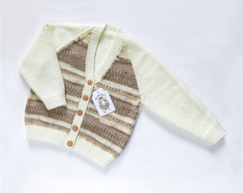 Girls Cardigan - Caramel Cookie. Hand Knit Cardigan. Hand Knit Childrenswear.