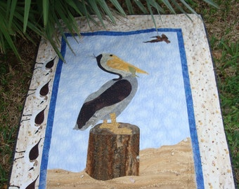 Pelican At The Shore Quilted Fiber Art Wallhanging