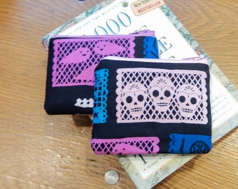 Small Zipper Pouch, Fabric Zipper Pouch, Zipper Case, Small Case, Coin Purse, Pouch, Card Case, Spooky Pouch, Cotton and Steel Pouch