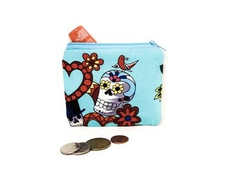 Day of the Dead Pouch, Small Fabric Pouch, Zipper Pouch, Fabric Pouch, Pouch, Skeleton Pouch, Coin Purse, Change Pouch, Small Zipper Case