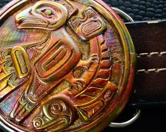 Native Indian American Eagle NorthWest  Eagle   Hunter Sea Monster Belt Buckle    made in solid  Bronze CANADA