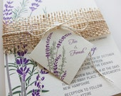Purple Lavender Wedding Invitations, Burlap Twine and Tag, Rustic Lavender and  Rosemary Herb Wedding Invitation